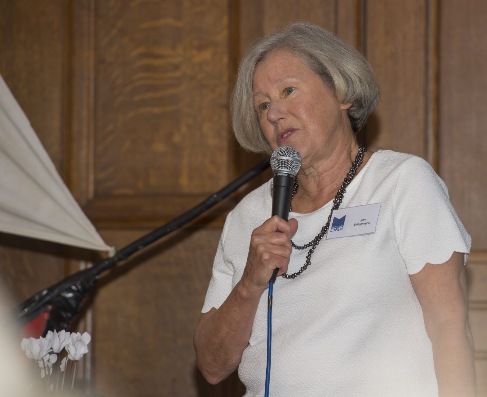 Chair Jan Williamson declaring LitFest 2017 open