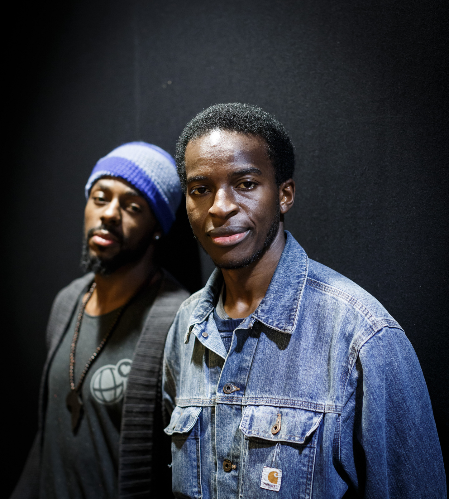 Kayo Chingonyi, with dancer Sean Graham performing at The Ellis Theatre, Marlborough College on Thursday evening.   Pic:  Ben Phillips