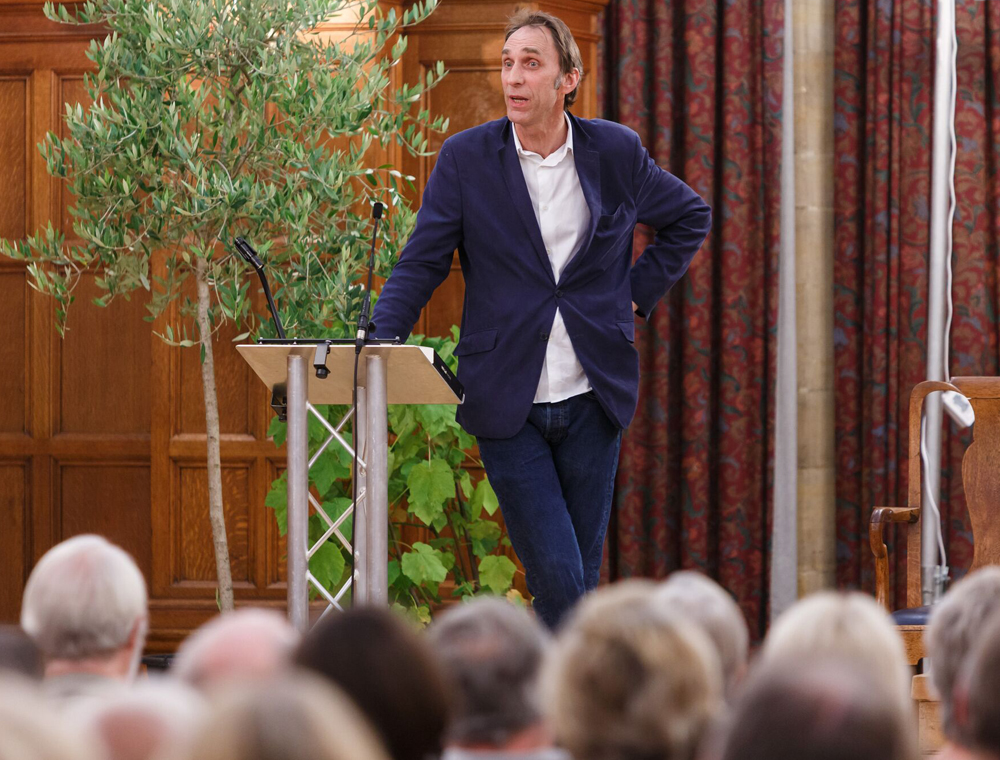 Will Self addresses a packed Town Hall  (photo copyright Ben Phillips - with thanks)