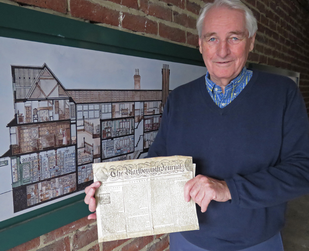 Clyde Nancarrow (Chairman of The Merchant's House Trust) with the 1772 copy of The Marlborough Journal