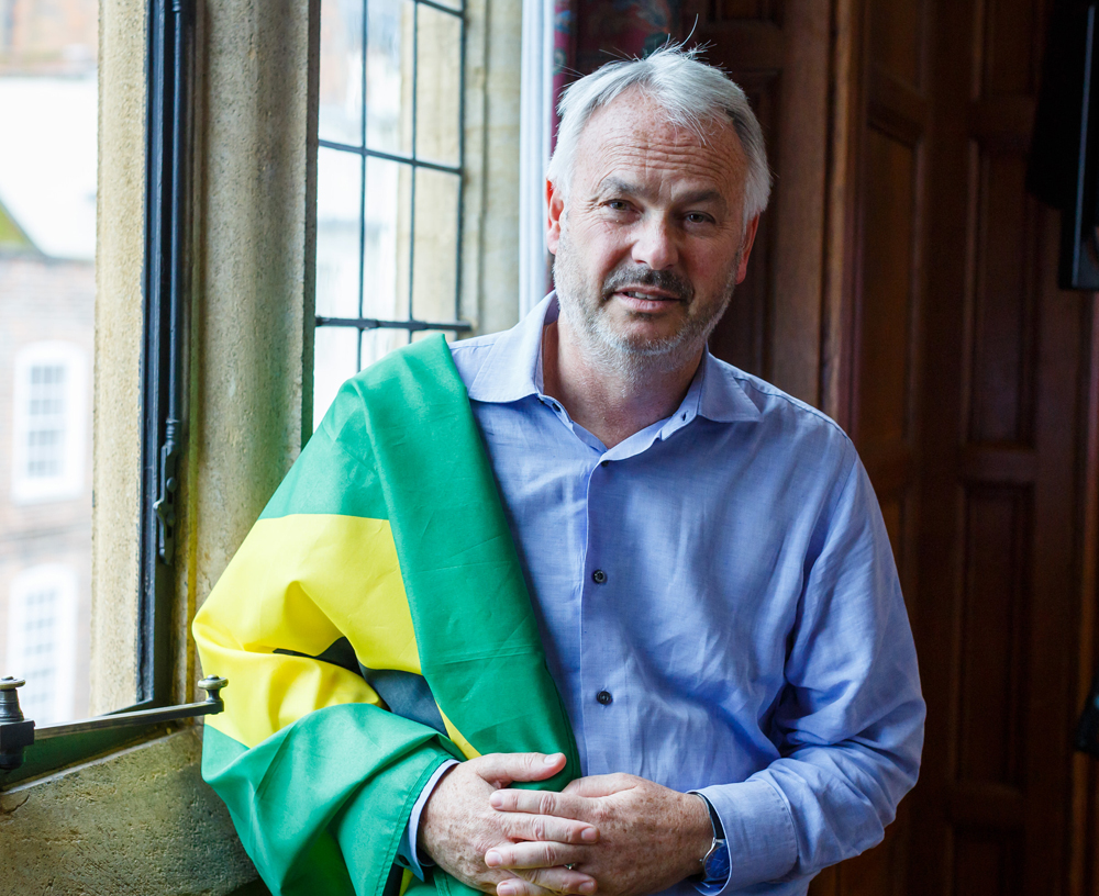 LitFest:  Tim Marshall - and flag (Photo copyright Ben Phillips - with thanks)