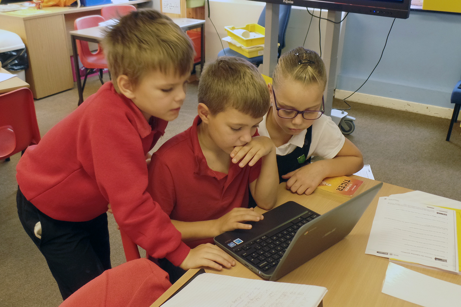 Pupils using one of the new computers