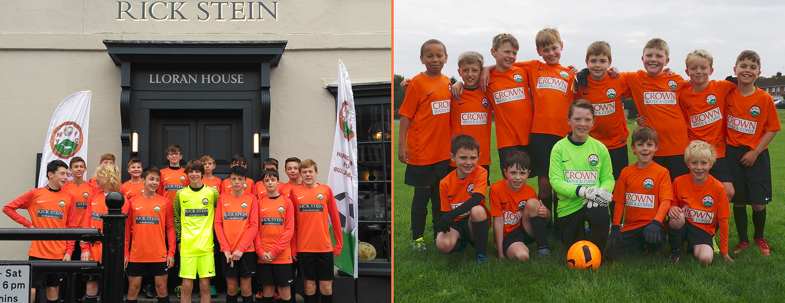 U14s in the news Rick Stein sponsored kit on the steps of the Marlborough restaurant along with the U9 team in their new Crown Water & Coffee sponsored kit