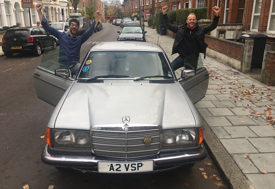 Giles Golding(left) Robin Twelftree (right) set off from Brixton