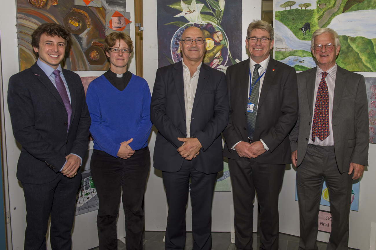 l to r: MBG Trustees Alex Davies & Janneke Blokland, Mark Goldring, Martin Cook (St John's) and MBG founder and chair for the lecture Nick Maurice