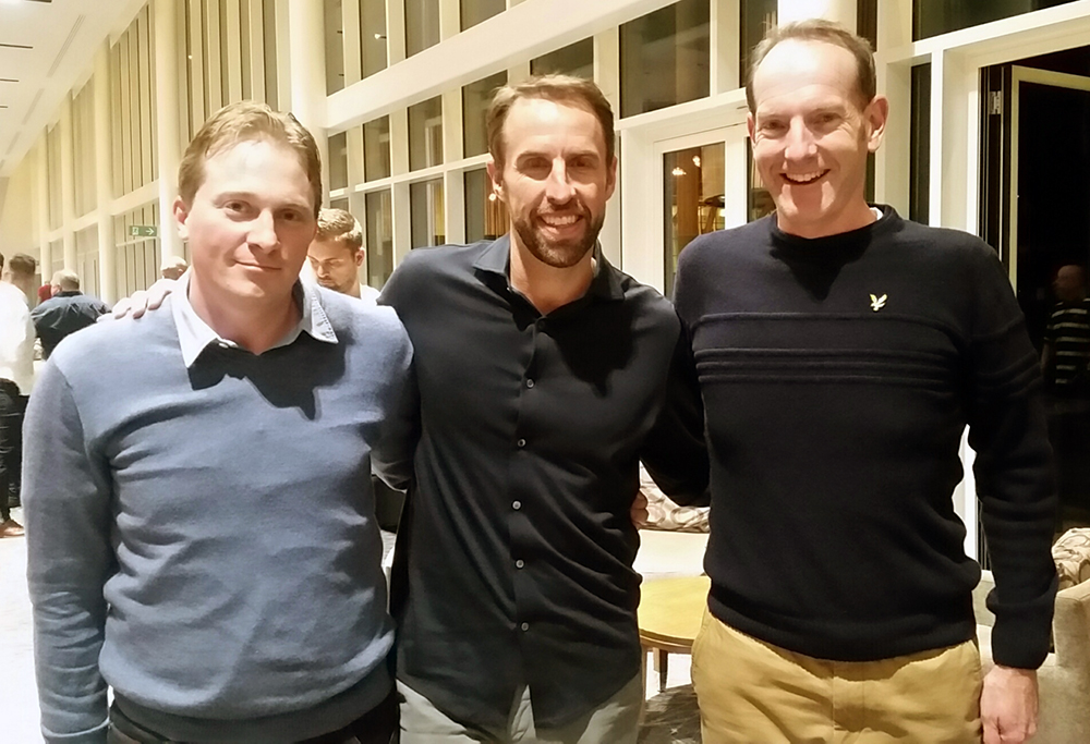 MYFC's Alex Reynolds and Robin Gibson with England Manager Gareth Southgate as part of the Nike Partner Club Event