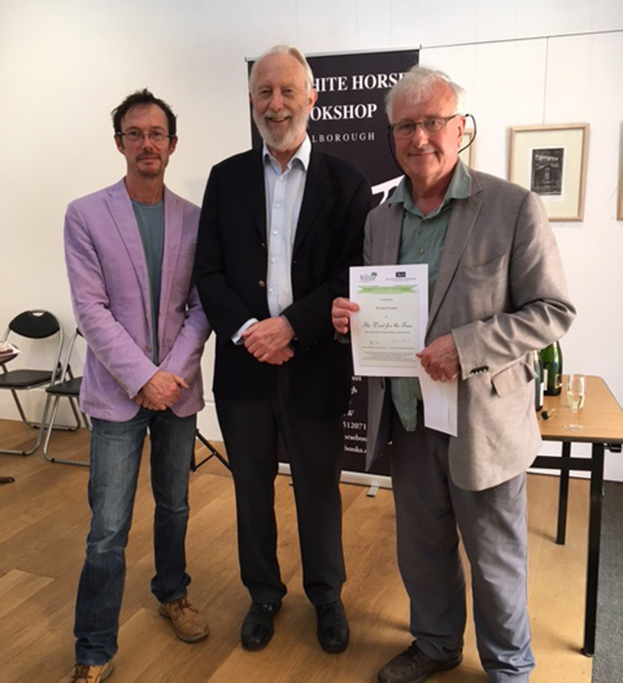 John Price with Angus MacLennan (left) & Prof Richard Fortey - 2017 winner of the Richard Jefferies Society/White Horse Bookshop writer's prize