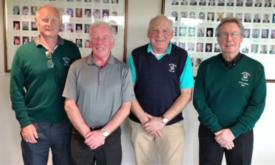 L to r: Peter Emery (Captain elect), Tom Ruddick, Roger Henry & Patrick Shaw