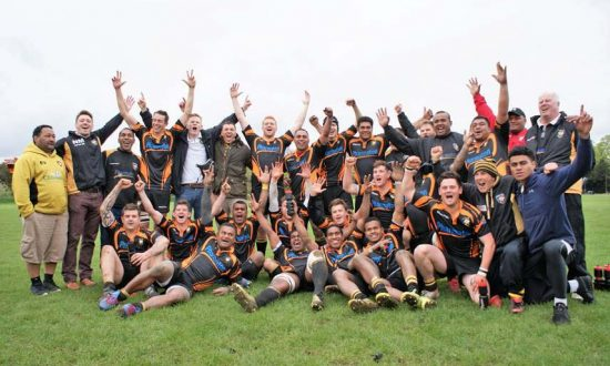 Winning team and coaches after Saturday's victory