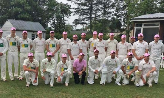 In the pink: the Saturday teams...and umpire