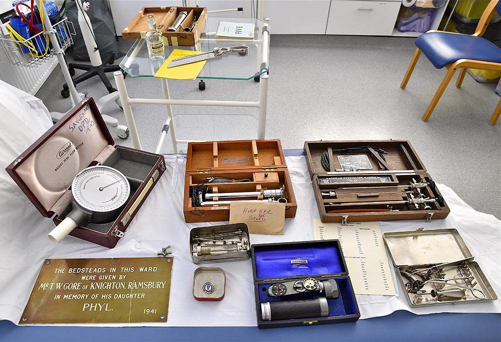 Some of the equipment used over the years of the NHS, loaned to Bedwyn by Savernake Hospital on show in the Treatment Room.  Thankfully times have changed.....