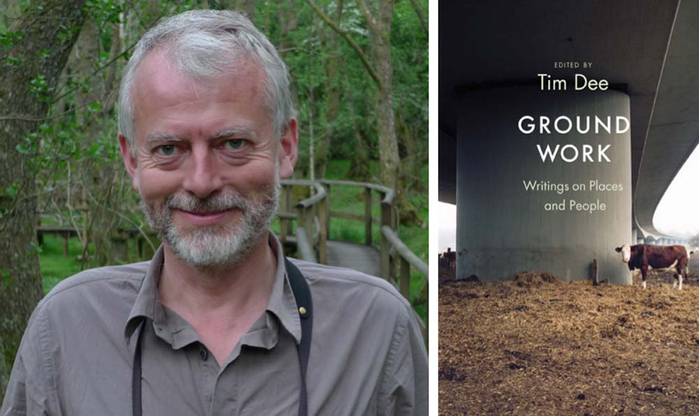 Tim Dee (© Claire Spottiswoode)...& Ground Work's cover - with cow & motorway