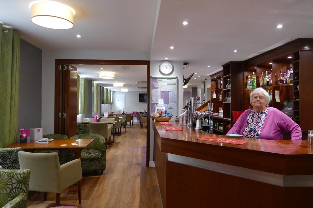 Jackie at the newly refurbished bar of The White Harte