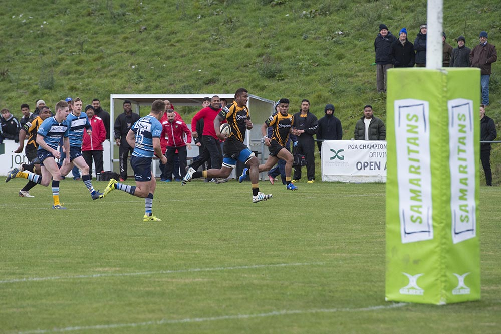 Josaia Visei thunders through the Newbury defence from near the halfway line for Marlborough's 2nd try