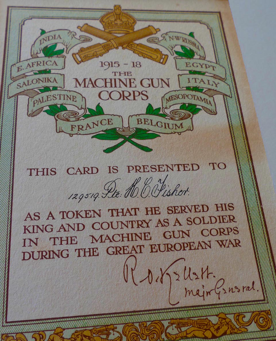 Ken's grandfather, Harry Fisher received this in recognition of his services in WW1