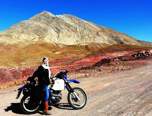 Lois in Iran - with motorcycle