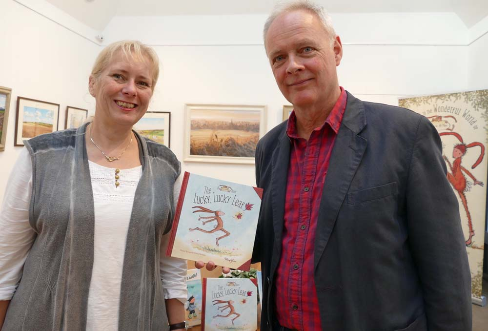 Chantal Bourgonje & David Hoskins with their book - 'The Lucky, Lucky Leaf'