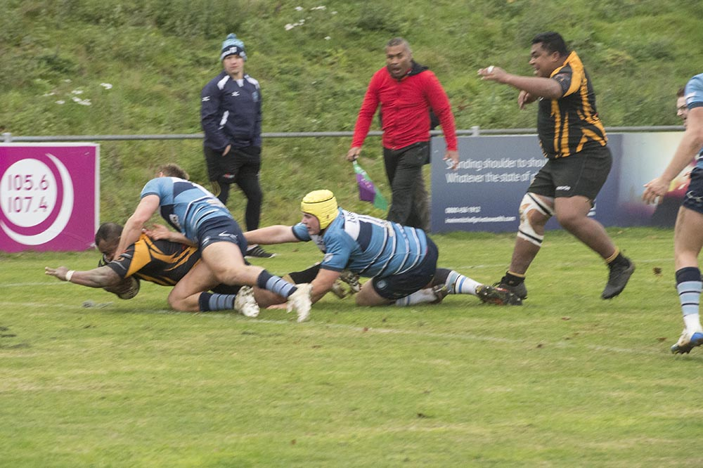 Tauyavu Bativagone powers through the Blues tackles for Marlboroughs third try