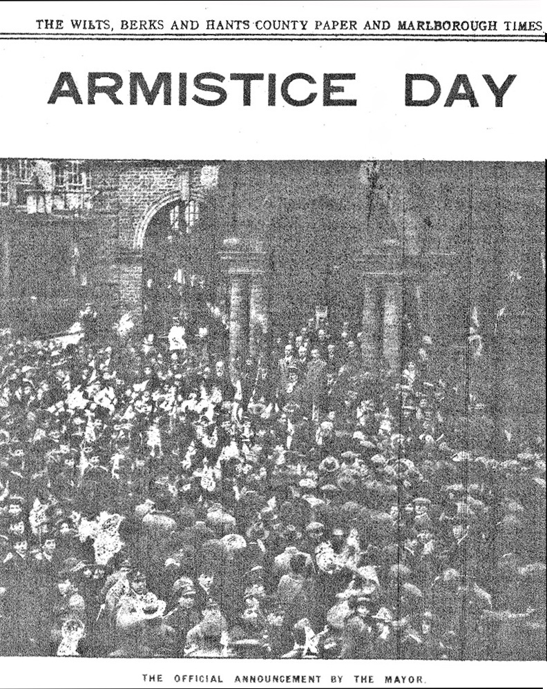 The official announcement.  In this poor quality image Town Hall columns, mace and the Mayor's attendants can be made out - in the foreground are men wearing service caps - some intent on the photographer rather than the Mayor. [SEE FOOTNOTE]