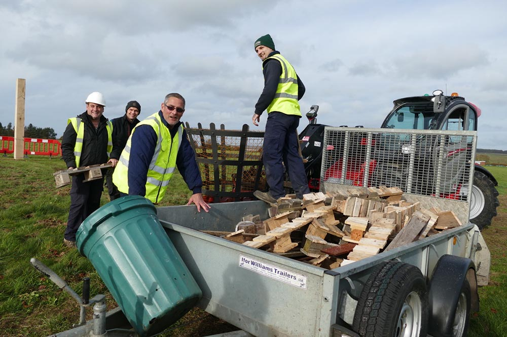 From left to right - Ashley Tarrant, Simon Coxwell,Nigel Weatherly and Aaron Presley preparing the beacon