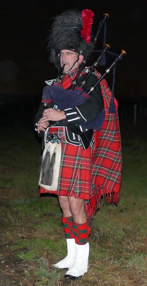 Piper John Hedger playing the traditional Battles Oer