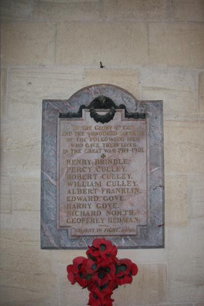 Commemorative plaque from East Kennet Church