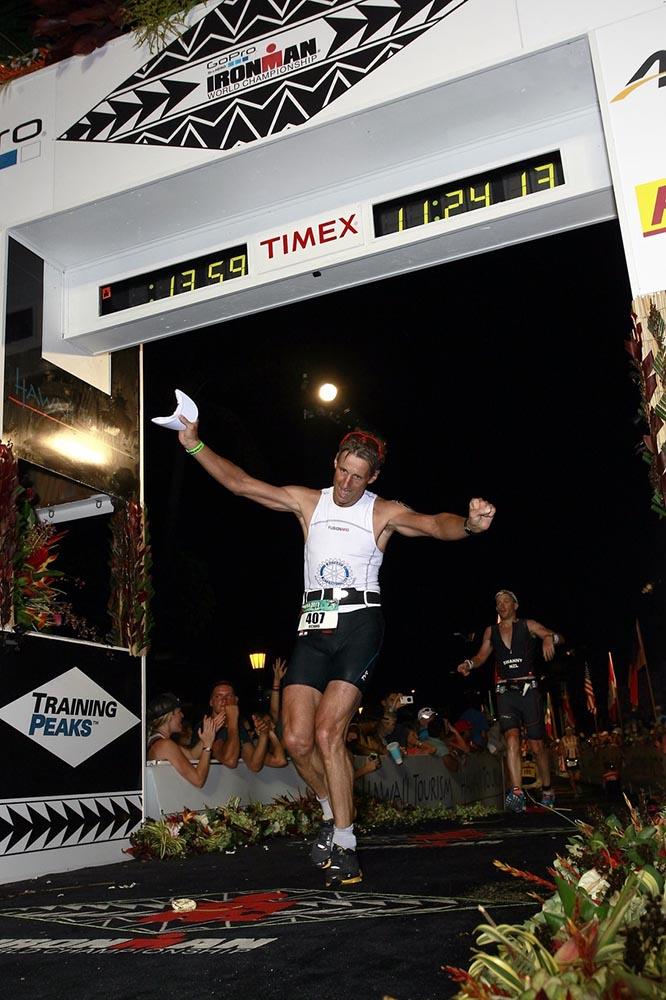 Richard Cooper finishing the World Ironman Championship in Hawaii