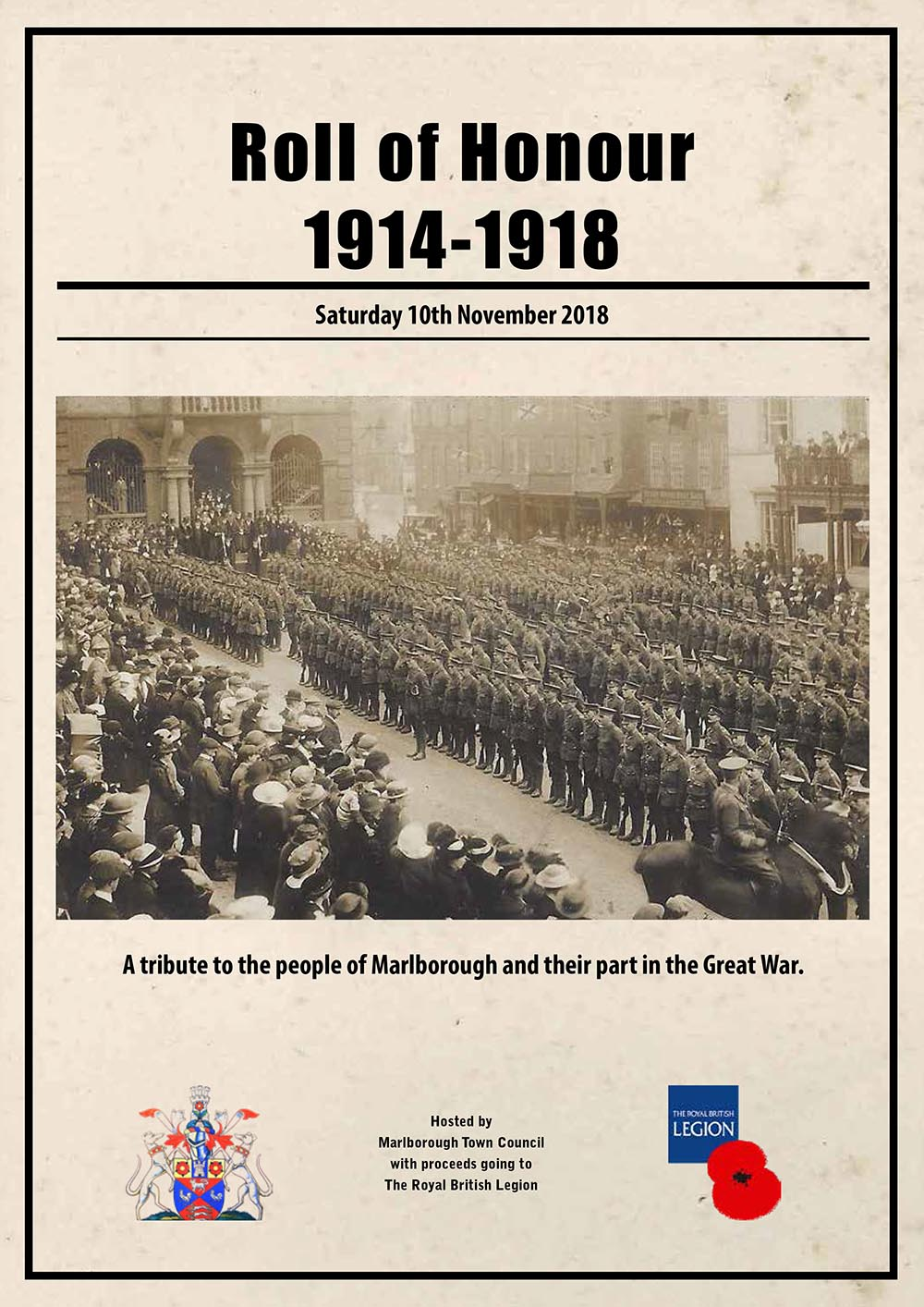 The cover of the programme for Saturday's 'Roll of Honour' to be held at the Town Hall