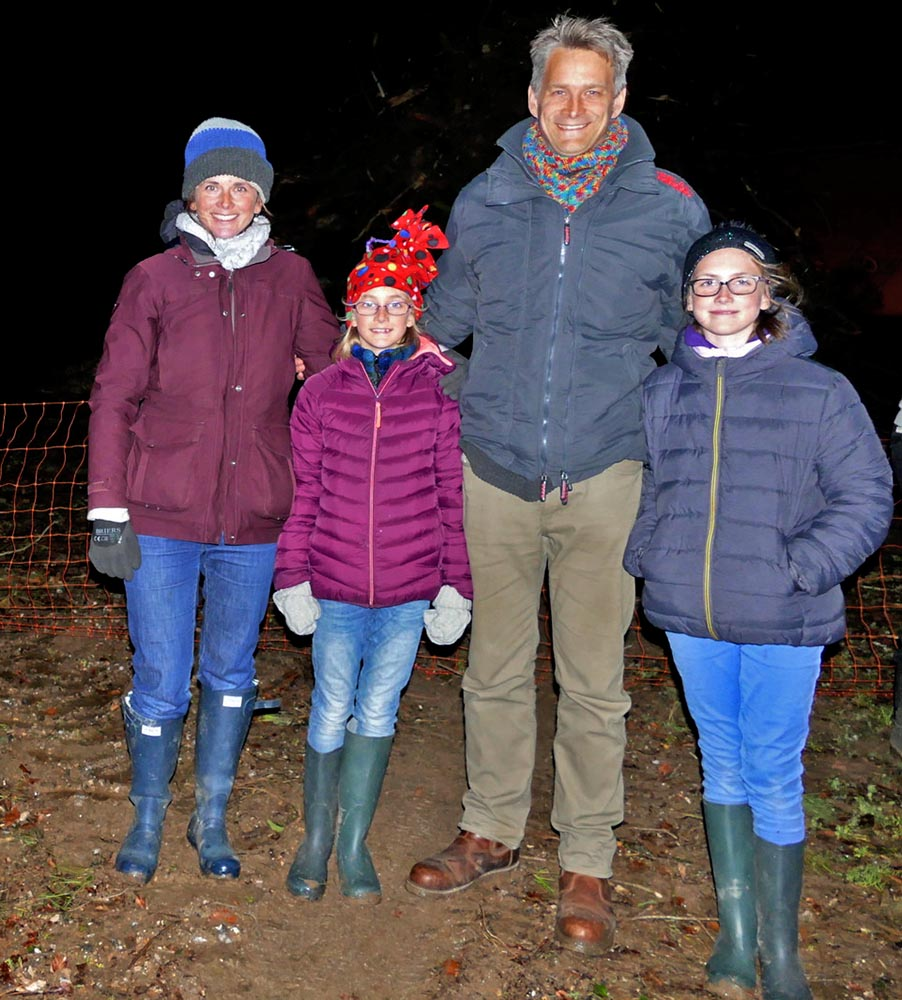 The Hegerty family in front of the beacon  - Alex, Mark, Lucy (10) and Sophie (9)