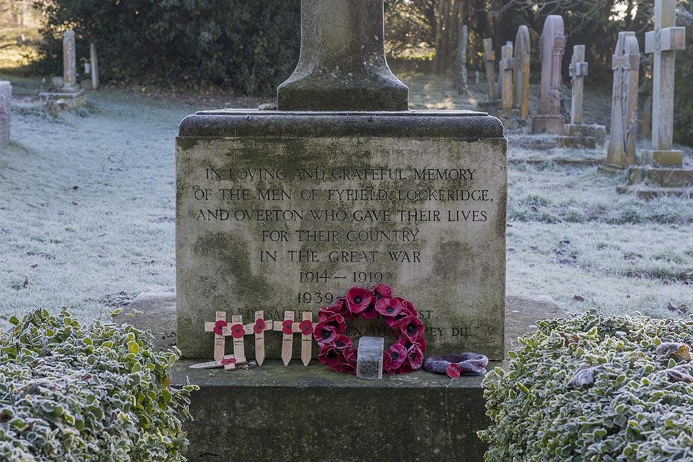 Memorial plaque on the West Overton cross