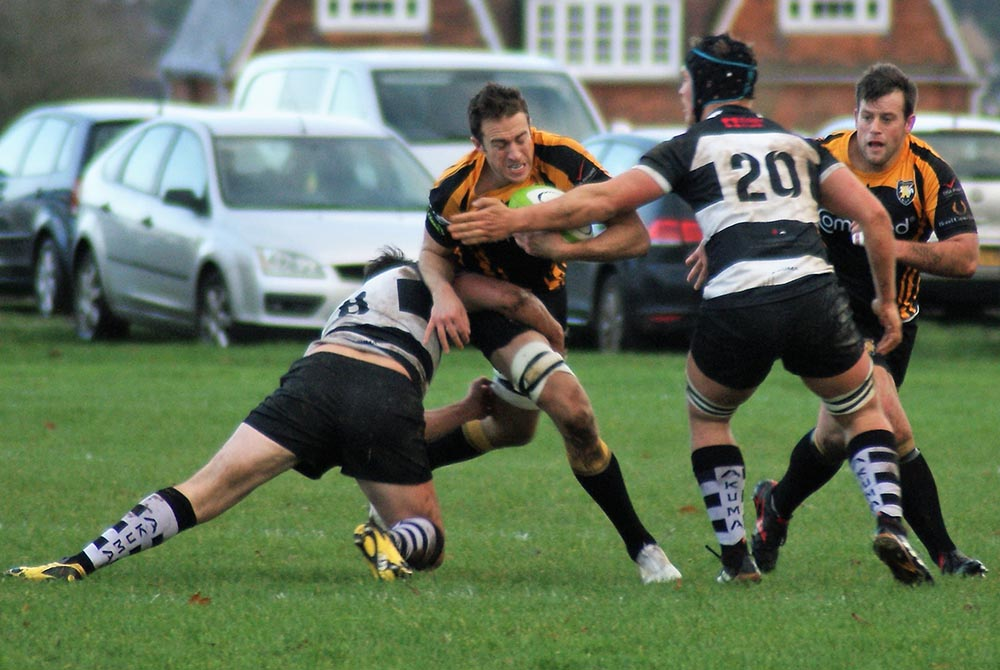 Jamie Pittams takes on the Stratford defence supported by Ash Horner