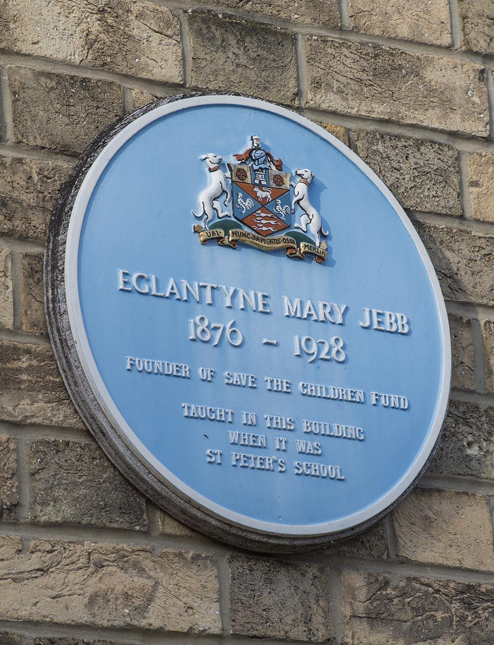 The Eglantyne Mary Jebb plaque on the wall of Marlborough's library