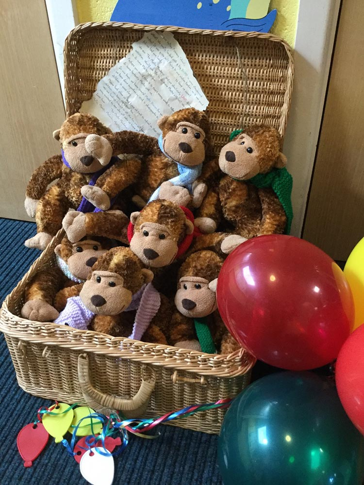 The seven Maths Monkeys who have arrived at Kennet Valley School
