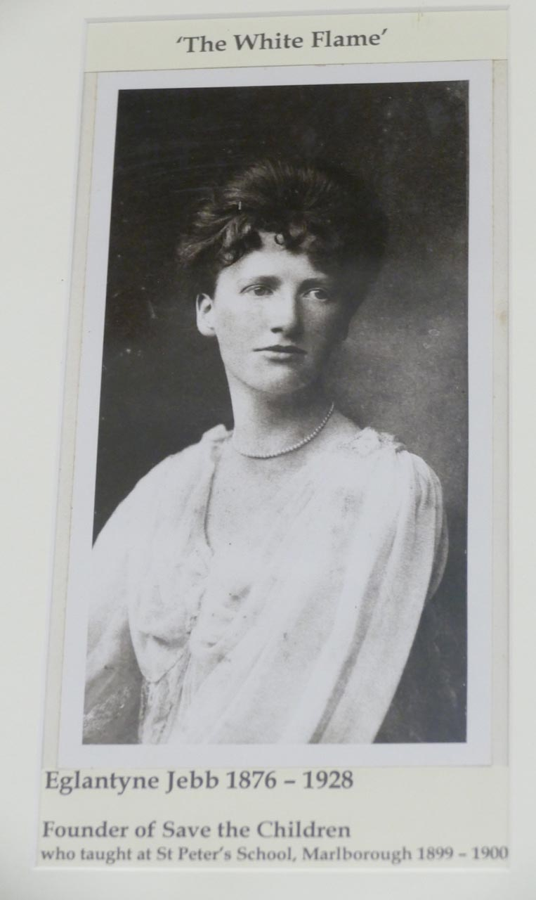 """Portrait of Eglantyne Jebb in St Peter's church, where she worshipped.  She was known as the """"White Flame"""" because the flame of her dedicated love for children in distress burned to a white heat of passion all her life"""