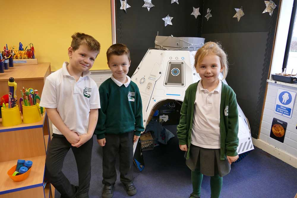 Outside the space shuttle in the reception class classroom