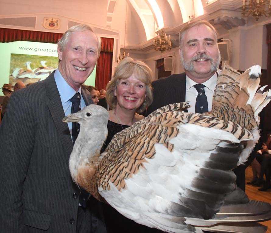 L to r David Scott, Nicky Alberry & David Waters and former Great Bustard (Photo courtesy Calyx)