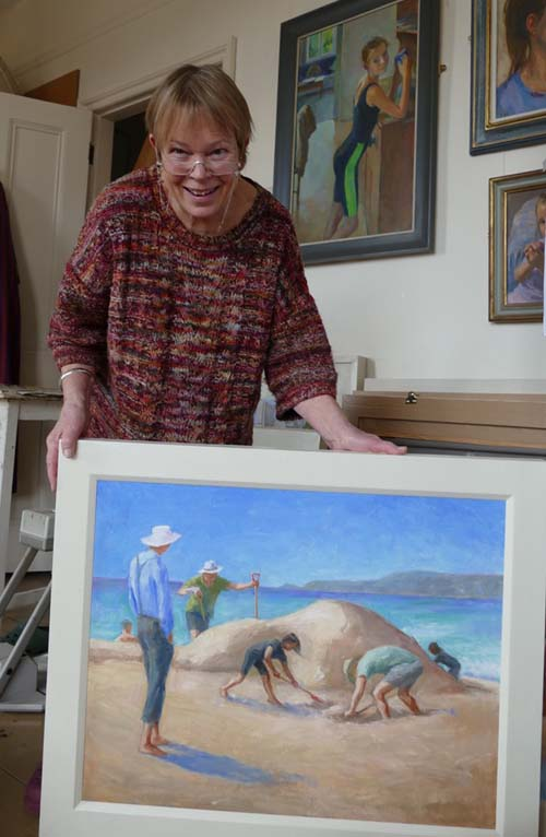 Juliet Wood with one of her Cornish beach scenes