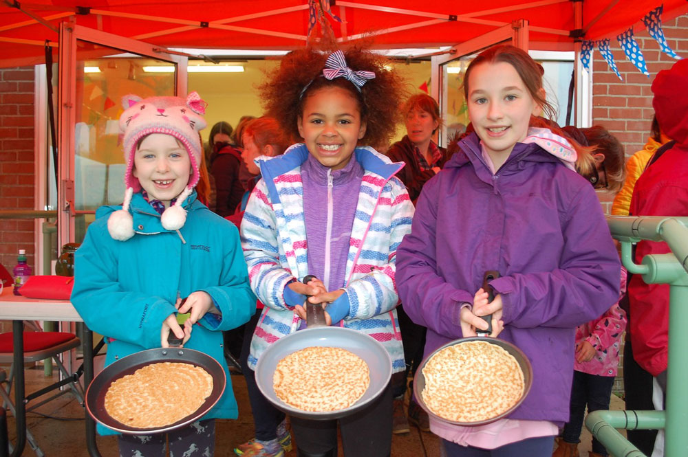 Kennet Valley School pupils get ready for the pancake race