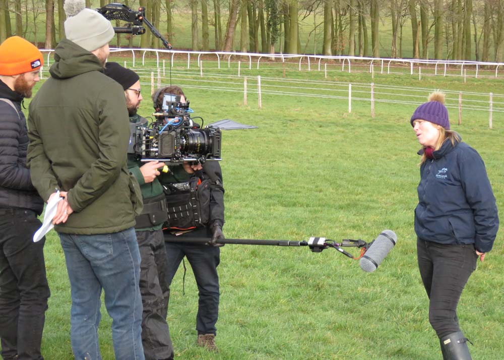 The bet365 video crew with Emma Lavelle beside the all weather gallop
