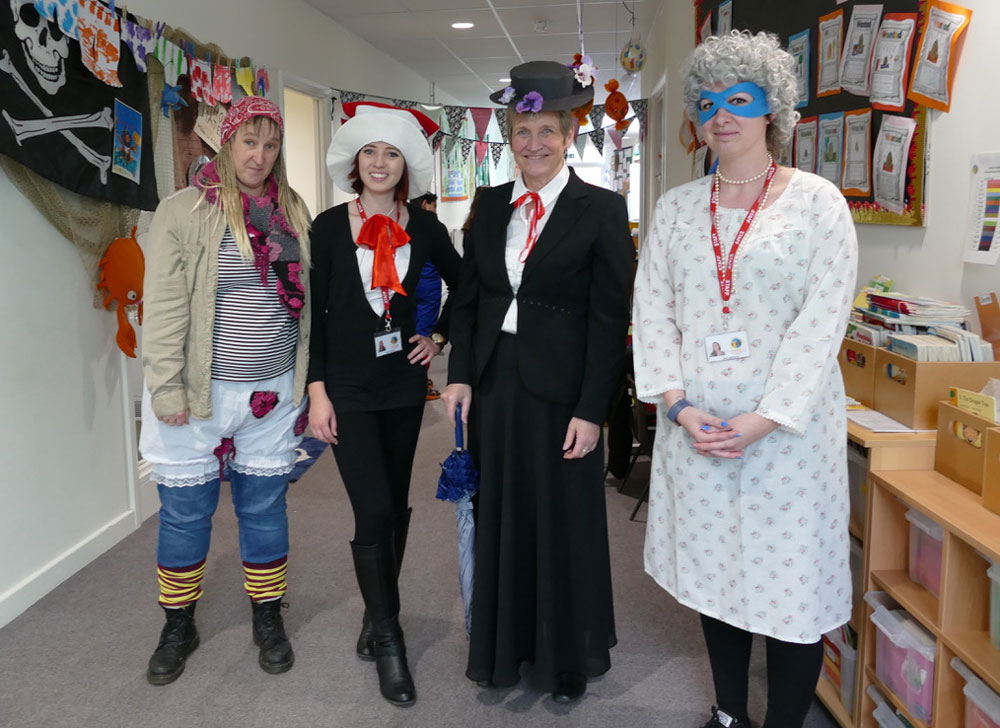 Pirate with bloomers Cat in the Hat Mary Poppins and Gangsta Granny staff at St Marys dress up for World Book Day