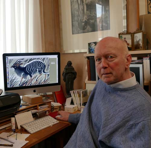 Simon Brett with a Clifford Webb animal engraving on the computer screen