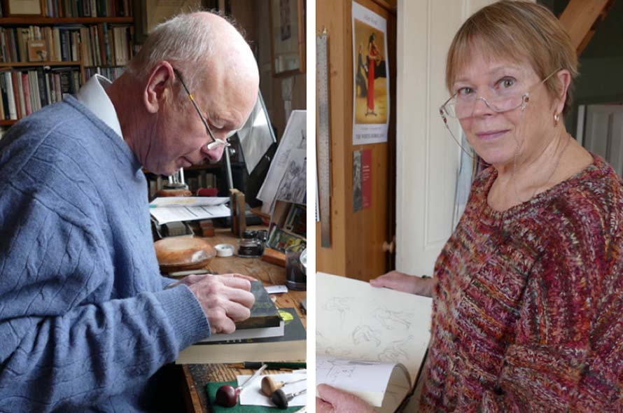 Simon Brett at work...Juliet Wood with her sketch book