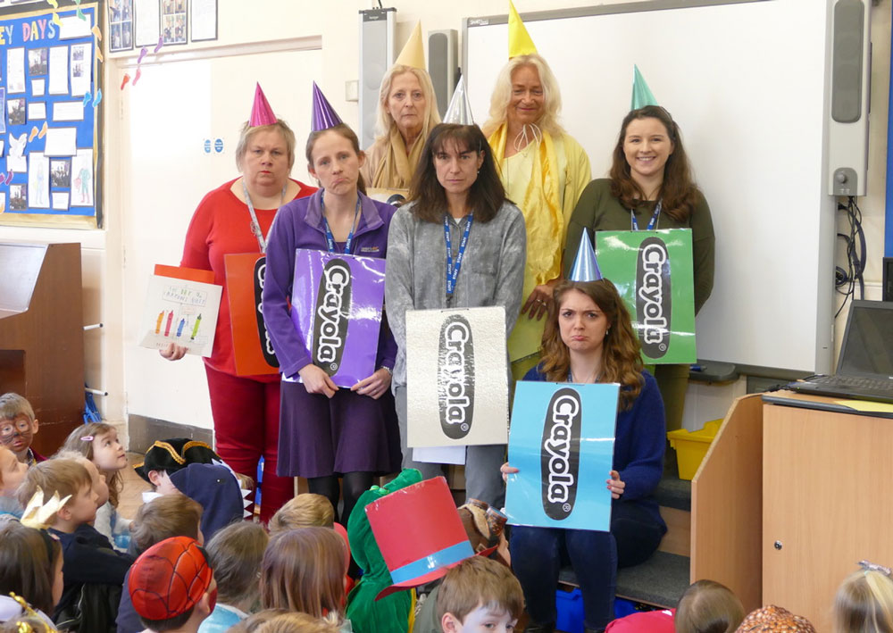 Staff at Preshute perform 'When the crayons' quit
