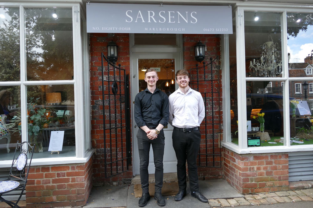 Connor Thompson and Nathan Woodley outside Sarsens