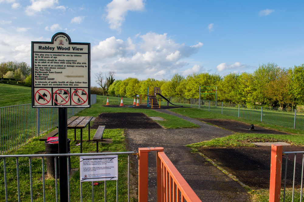 Rabley Wood View Play Area - closed off but with just the slide and picnic bench remaining