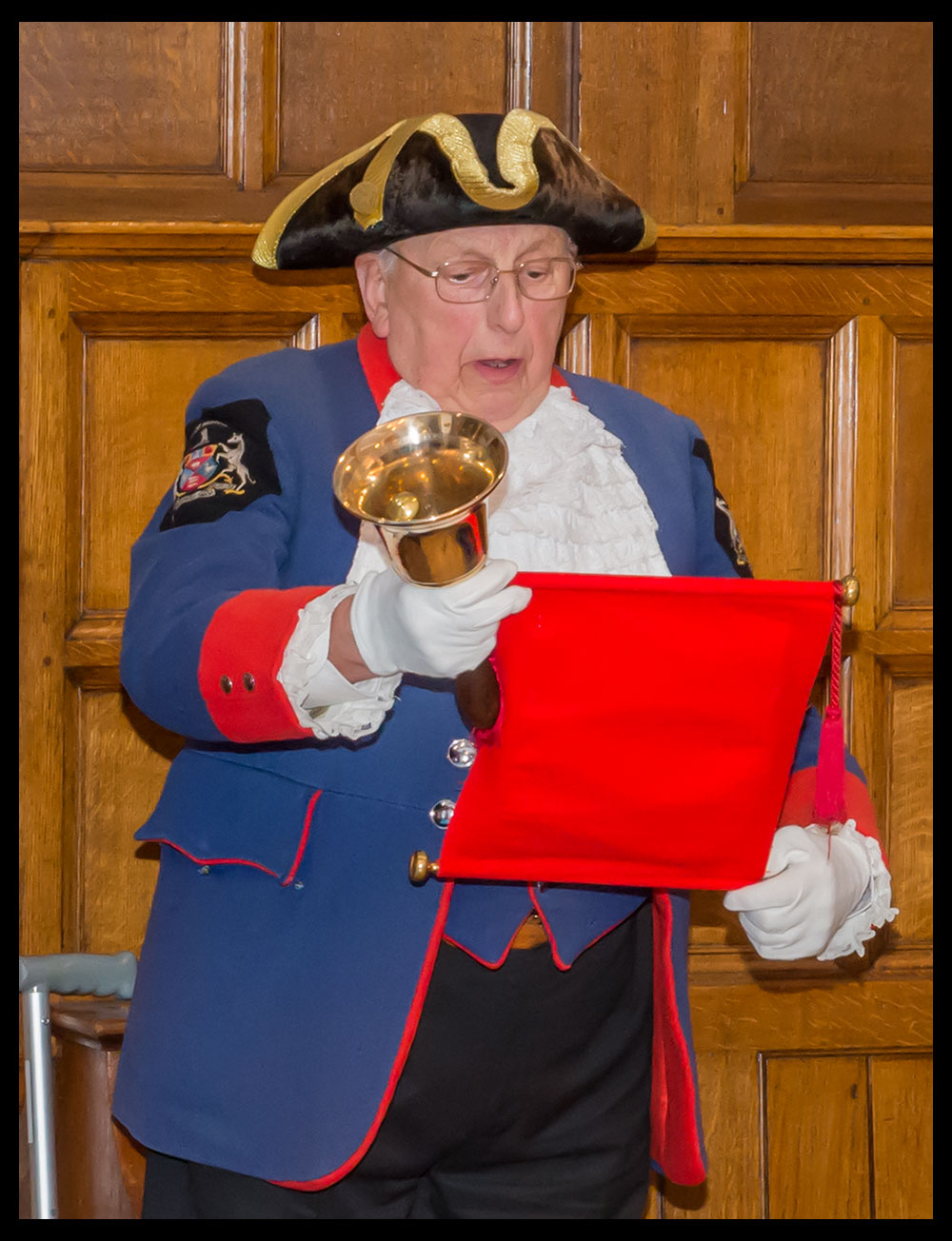 Alfie's last shout - at the Town Hall on 16 March 2016 when he handed the bell over to Mike Tupman