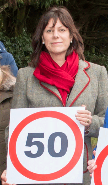 Claire Perry, at Ogbourne St George recently, supporting residents with their campaign for the proposed speed restriction