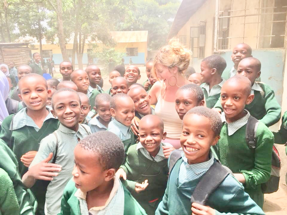 Michaela with some of the children the Foundation helps