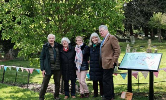 Ogbourne History Group (l-r) - Bruce Fox, (Chair of Ogbourne St Andrew History Group) Margaret Matthews, Sue Parry, Jane Fox, ( Members ) Donald Sherlock (Chair of North Wessex Downs Landscape Trust)