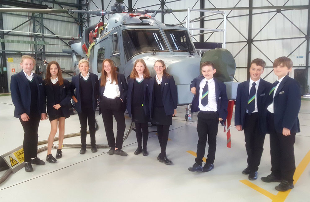 St John's Year 7 students at the Regional final of Race for the Line at RNAS Yeovilton